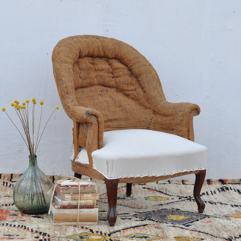 Antique Hessian Backed Armchair Calico Seat Home Barn