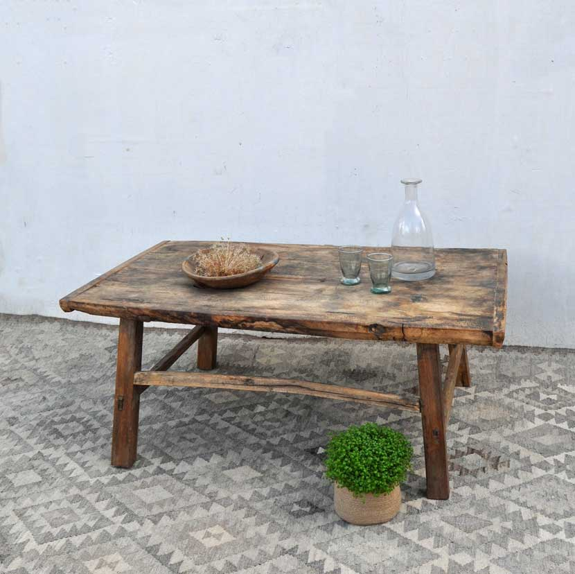 Large Rustic Elm Coffee Table Home Barn Vintage