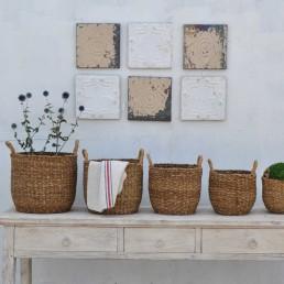 hand woven Hogla sea-grass baskets