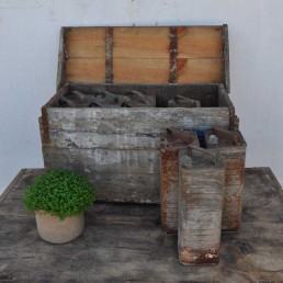 rustic vintage box of galvanised cans