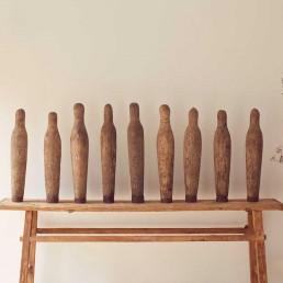 vintage large wooden skittles