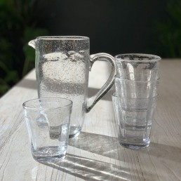 clear glass water jug and drinking glasses