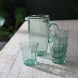 Glass Bubbles Water Jug or Vase | Green