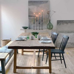 large handcrafted salvaged wood dining table from Home Barn are a sustainable interiors choice and have a natural rustic look