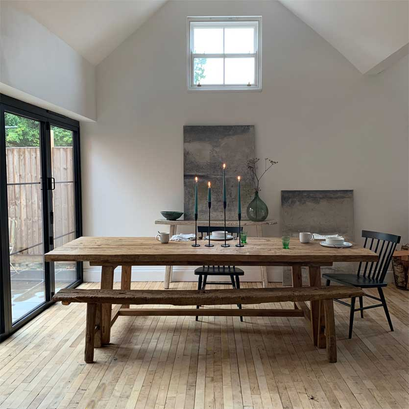 Large Handcrafted Salvaged Dining Table 225cm X 100cm