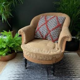 Textured geometric print cushion
