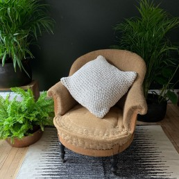 White chunky knitted cotton cushion