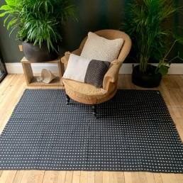 Black and White Rug Geometric Design