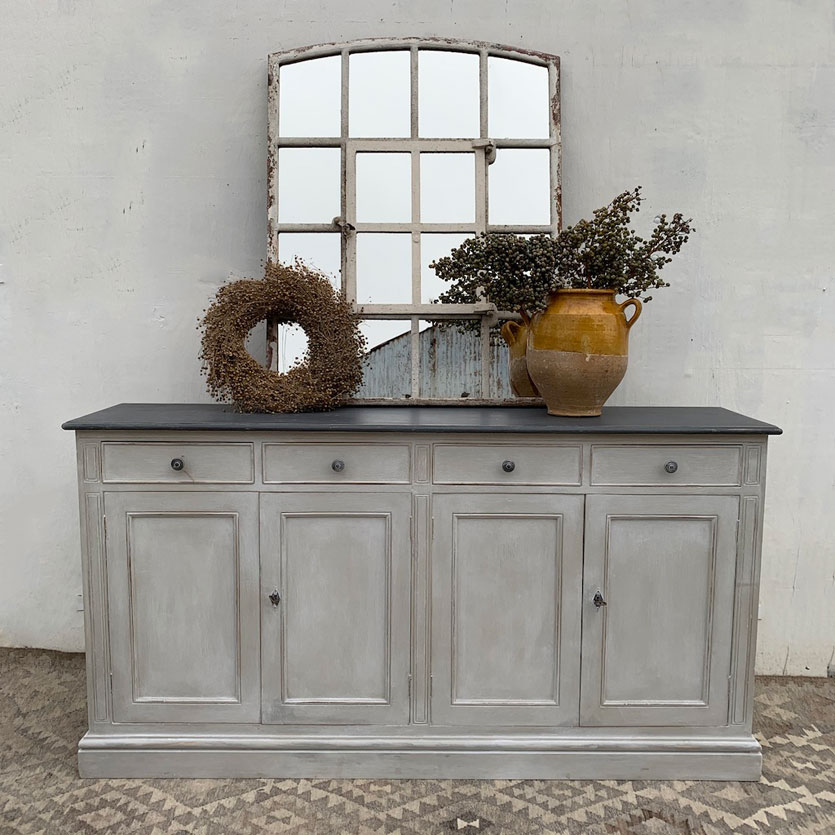 Vintage French Sideboard Grey Hand Painted Home Barn