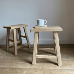 Reclaimed pale wood Stool | Winona