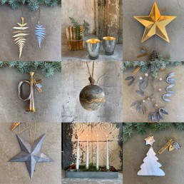 Plastic-free, vintage Christmas decorations, zinc candle holder and glass tealight candle holders from Home Barn