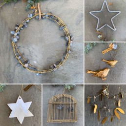 Plastic-free, vintage Christmas decorations, zinc wreath decoration and pearlescent star decoration from Home Barn
