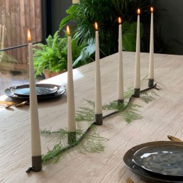 Long Christmas table candelabra centrepiece in gunmetal zinc from Home Barn