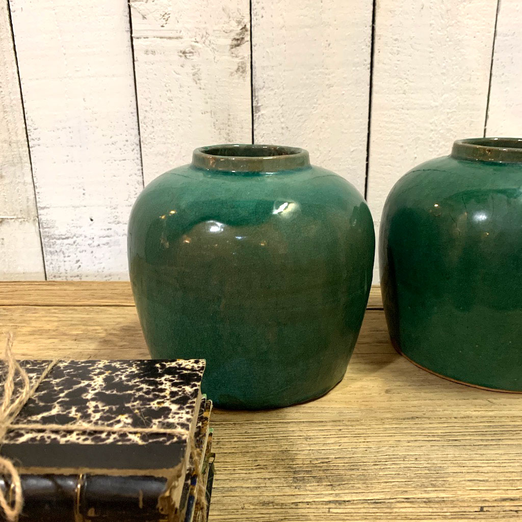 Antique Chinese Pharmacist Ceramic Pot Turquoise Home Barn Vintage