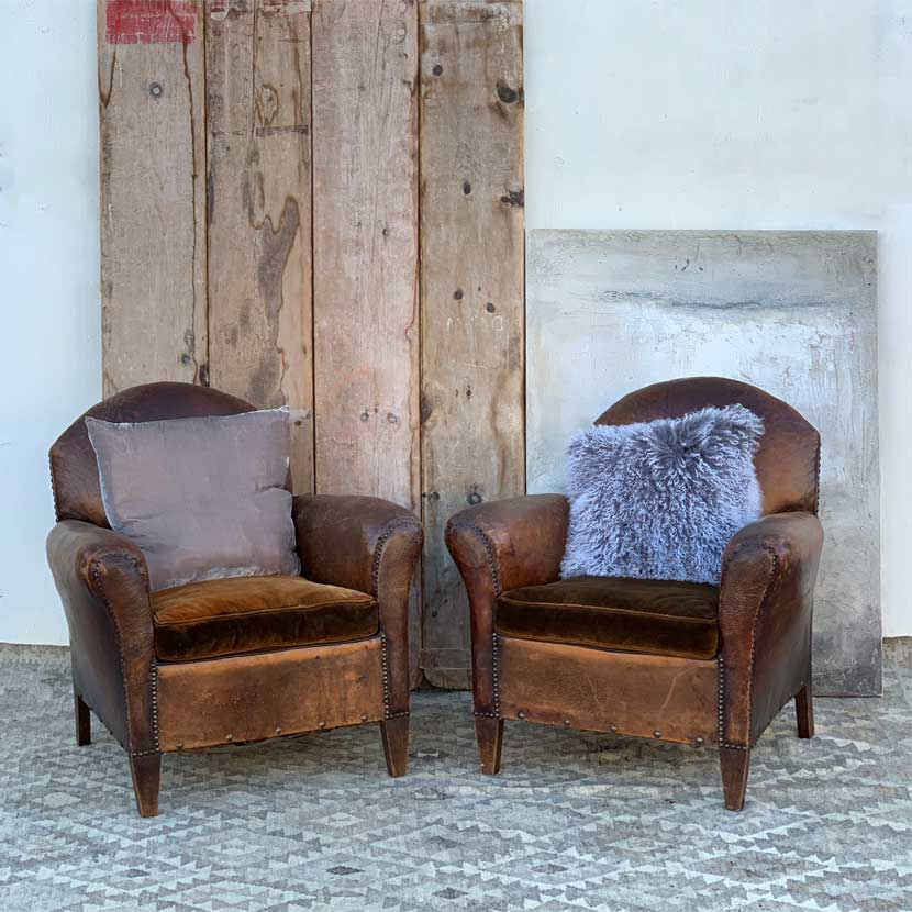 Antique leather armchair | club chairs - Home Barn Vintage
