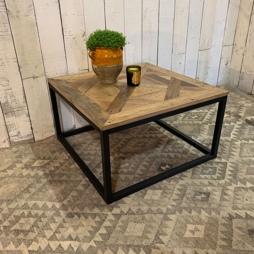 Square Reclaimed Wood Parquet Coffee Table