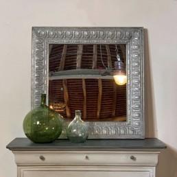 square tin tile mirror | brushed silver