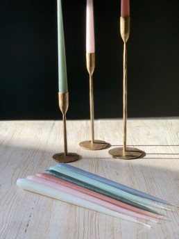Matte gold tapered candlestick holders