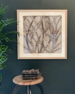 framed pressed botanical branch artwork