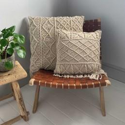 hand made macrame cushion cotton
