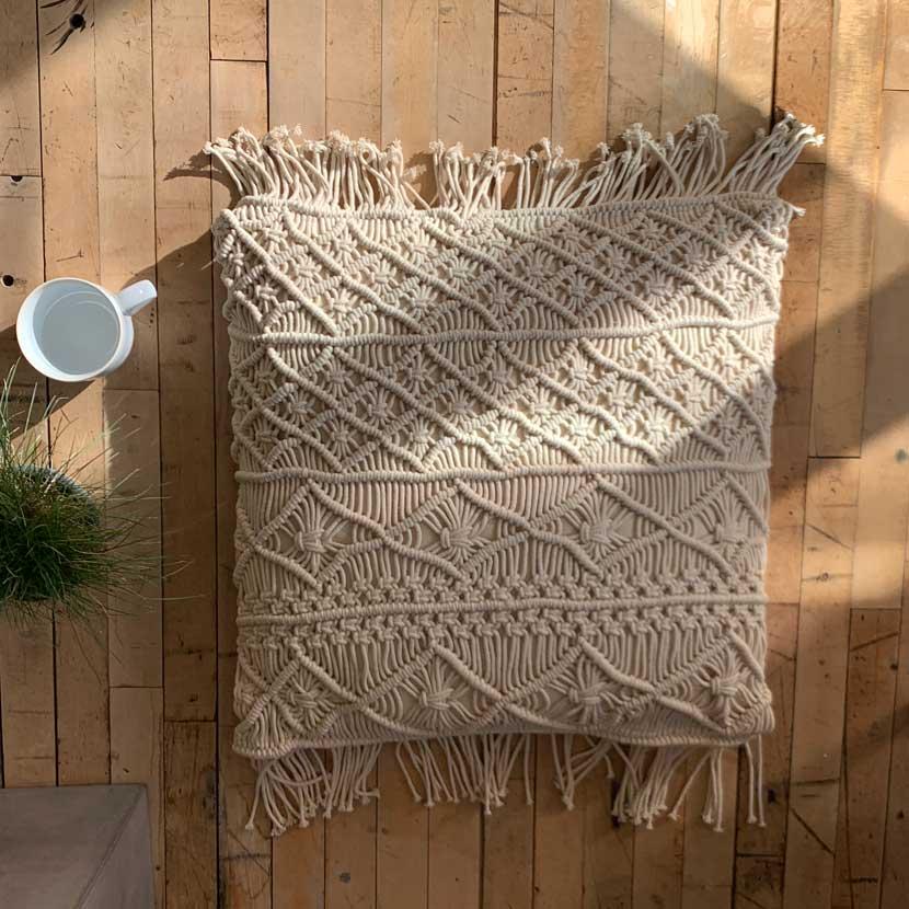 Hand Made Macrame Tassel Pillow Home Barn Vintage