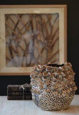 textured petal ceramic vase