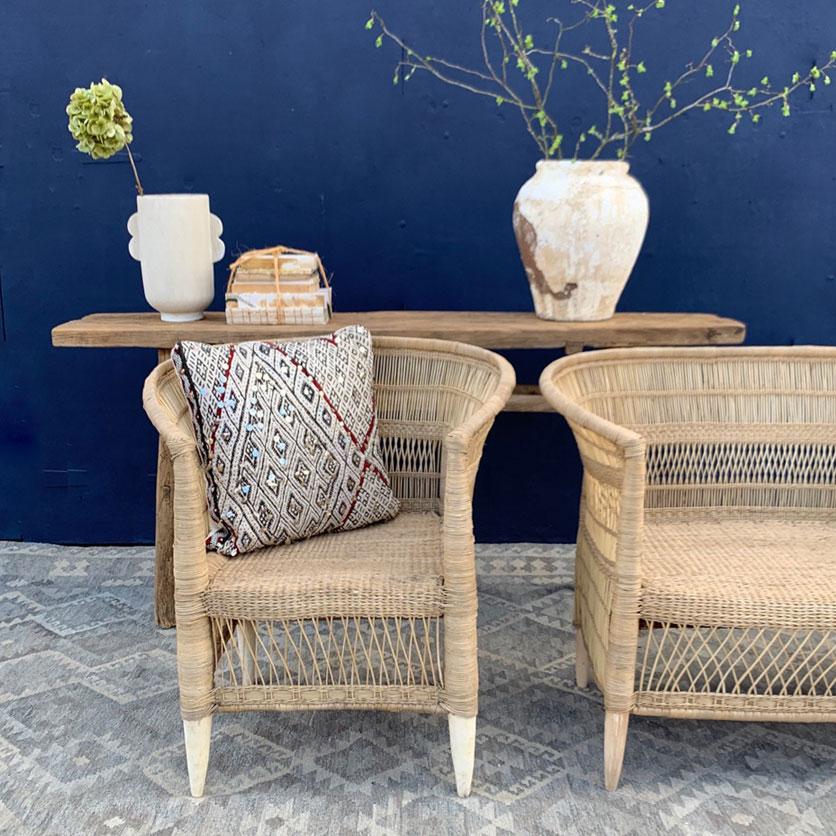 Hand woven rattan armchair - Home Barn Vintage