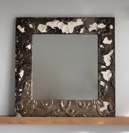 Vintage American tin ceiling tile mirror