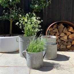 Vintage Galvanised Metal Garden Planter | ribbed