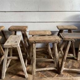 Antique Rustic Wood Milking Stool