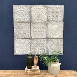 set of nine vintage style tin tiles