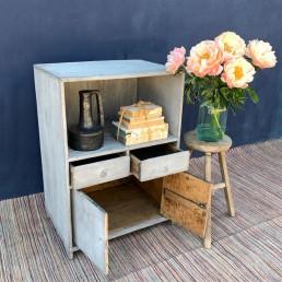 Antique Elm Wood Locker Cabinet