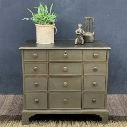 antique painted bank of drawers