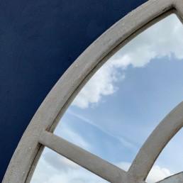industrial metal round mirror