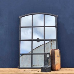 reclaimed iron arched window mirror