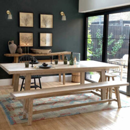 Whitewashed Reclaimed Elm dining table | Snowdon
