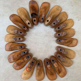 antique wooden child's shoe last | pair