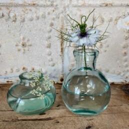 Pair of aqua glass bottle