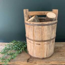 rustic antique wooden rice bucket