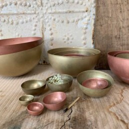 set of nesting bowls in brass or copper
