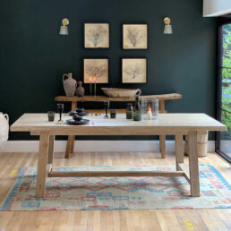 Whitewashed Reclaimed Elm dining bench   Snowdon