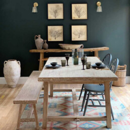 Whitewashed Reclaimed Elm dining table   Snowdon