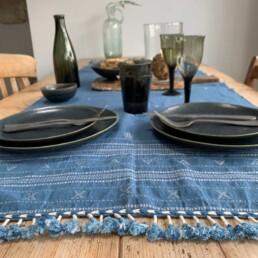 woven indigo table runner