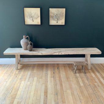 rustic reclaimed whitened Elm bench