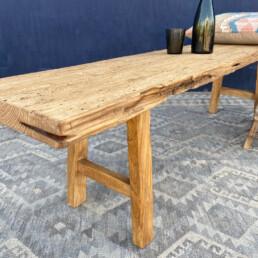 long rustic reclaimed wooden bench   Cedric