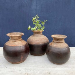 Vintage Indian Wooden Dairy Pot | Curved