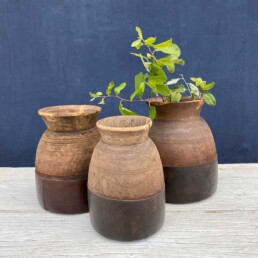Vintage Indian Wooden Dairy Pot | Straight