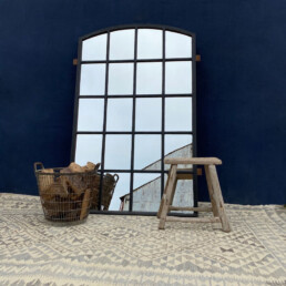 Vintage large architectural arched window mirror