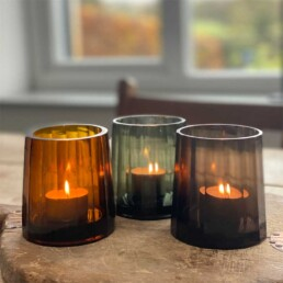 Fluted Glass Candle Holder | Three