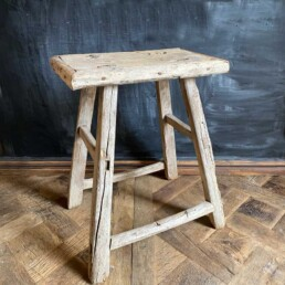 Rustic wooden side table | large stool